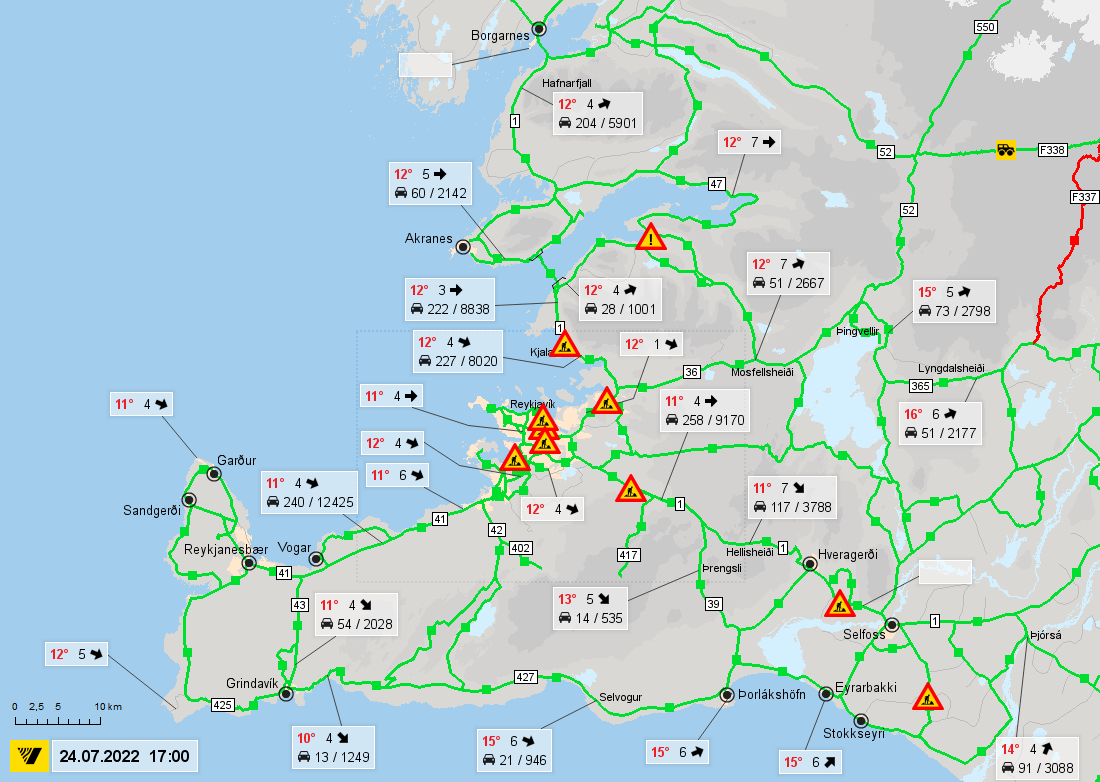 Road conditions in southwest Iceland | Road conditions in ...