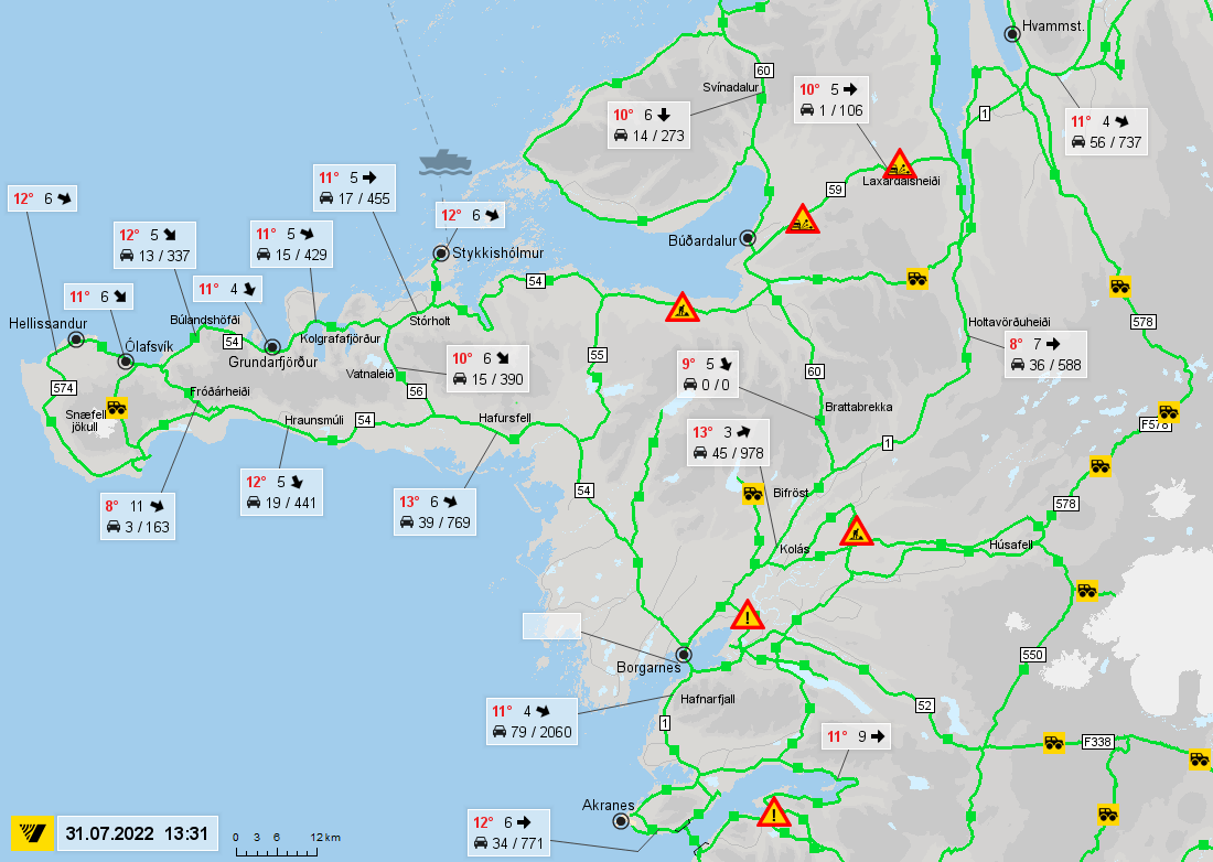 Karte Island Strassen.Road Conditions In West Iceland Road Conditions In West