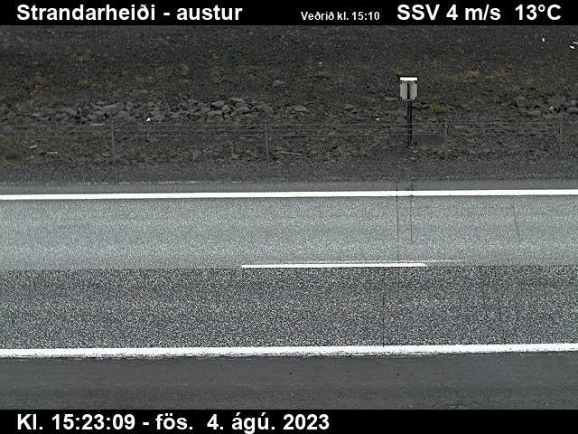 Vefmyndavél: Reykjanesbraut, Strandarheiði séð niður á veg til  til austurs